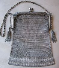 Antique Art Nouveau Deco Silver T Floral Frame Fancy Side Tassel  Mesh Purse #20