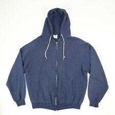 Vtg 80s Hanes Plain Blank Hoodie Sweatshirt Jacket XL Blue Skate Grunge Full Zip
