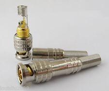 10pcs Bnc Male Metal Screw Plug Gold Pin w/spring for Cctv Video Rg59 Rg6 Cable