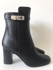 HERMES JOUEUSE BLACK CALFSKIN LEATHER BOOTIES KELLY BUCKLE SIZE 38 NIB