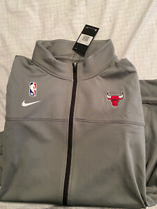 Nike NBA CHICAGO BULLS XL TALL PLAYER ISSUED DRI-FIT Gray Full Zip Jacket