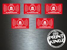 1 x 5 Stück Aufkleber Alarmanlage Sicherheit Security Warnung Sticker Tuning Fun