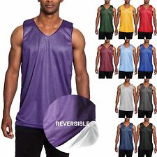 Mens Mesh Tank Top Basketball Jersey T Shirts Practice Sleeveless Tee Reversible