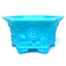 Fenton Blue Glass Hexagonal Vase