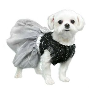 Dog Glamorous Black & Gray Party Dress With Lace, Pooch Outfitters (M) Female