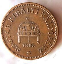 1895 HUNGARY 2 FILLER - High Quality Coin - FREE SHIPPING - Hungary Bin #1