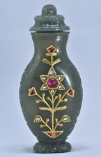 MUGHAL STYLE JADE SNUFF BOTTLE STUD WITH 24 KT GOLD & PRECIOUS GEMS COLLECTIBLE