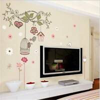 DIY Mural Parlor Removable Happy Bird Cage Tree Cartoon Kids Room Wall Stickers