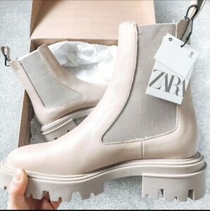 Zara Low Heel Leather Ankle Boots Off White Size 10 2135/610