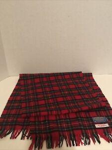 Pendleton Made in USA Red & Green Wool Tartan Plaid Scarf/Muffler. Unisex.