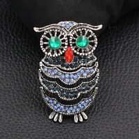 Betsey Johnson Blue Crystal Rhinestone Owl Charm Animal Brooch Pin Jewelry Gift