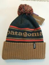 Patagonia Powder Town Beanie. Mojave Khaki w/Blue & Orange.
