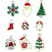 Christmas Enamel Beads Snowflake Santa Claus Xmas Tree DIY Earrings Jewelry Gift