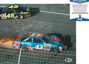 RICHARD PETTY KING NASCAR RACING SIGNED CRASH 8x10 PHOTO BECKETT COA BAS