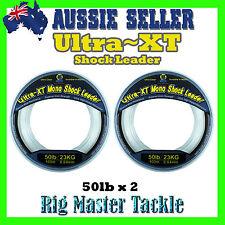 2x Shock Leader 100m Spools Ultra XT Fishing Line Monofilament 50lb Rig Master