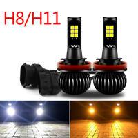Pair H8 H11 Car LED Fog Driving Light Bulbs White+Yellow Dual Color 2600LM T05