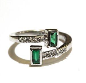 925 Sterling Silver green emerald cut cubic zirconia cz ring 2.5g estate 3.75