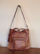 LUCKY BRAND DEL RAY Tan Leather XLarge Hobo Crossbody Messenger Tote Bag Satchel