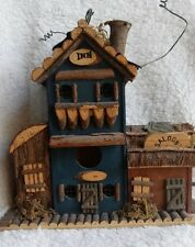 Inn and Saloon Original Wooden 11 inch tall Bird House with three holes-perches
