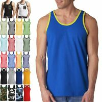 NEW MENS VEST 100% COTTON TANK TOP T-SHIRTS TRIM MUSCLE SLEEVELESS SUMMER BEACH