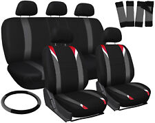 17pc Set Red Gray Black Auto Car Seat Covers + Steering Wheel Cover-Head Rest 1E