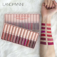 LANGMANNI 12Pcs Lipstick Matte To Glitter Flip Lip Sexy Lip gloss  Makeup UK