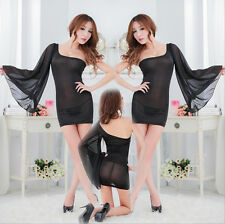 Sexy Evening One shoulder Sleeve Chiffon Dress Women Black Lace Cocktail Party