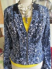 Cache Jacket Gorgeous Navy & White Leopard Bomber Sz 8 NWT-Perfect Summer Jacket