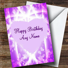 Rosa y púrpura Corazones romántico Personalizado Cumpleaños tarjeta de saludos