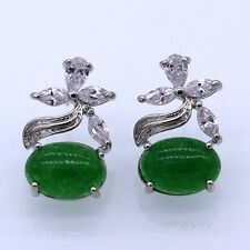 Oval Jade Leaves Crystal Cubic Zirconia 18K White Gold Plated Stud Earrings