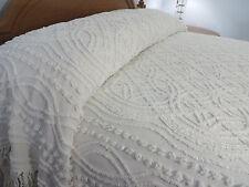 Vtg White Wedding Ring Chenille Bedspread Cotton Fabric 96X103 Cotton Fringe
