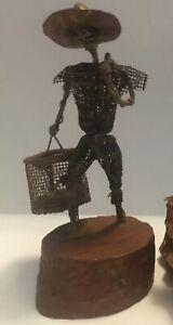 Alfred Weekes Wire Fisherman Sculpture Vintage