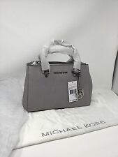 Pearl Grey BNWT 100% Michael Kors SUTTON Saffiano Leather Satchel Bag
