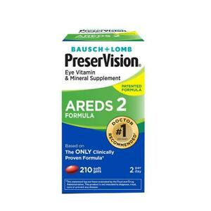 AREDS 2 FORMULA Buasch + Lomb PreserVision Eye Vitamin Mineral 210 Soft Gels