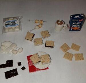 Dollhouse Miniature Smore Loose Set Chocolate Graham Marshmallows Cocoa