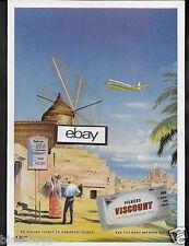 BEA BRITISH EUROPEAN AIRWAYS VISCOUNT 800'S TO ROMANTIC PLACES MALAGA SPAIN AD