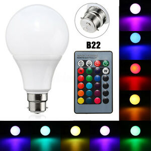 B22 20W Dimmable RGB 16 Colour Changing LED Light Lamp Bulb + Remote Control I