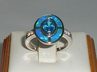 Ladies Art Deco Sterling 925 Solid Silver Opal Sapphire & Aquamarine Target Ring