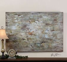 Gray Silver Green Abstract Painting | Modern Wall Art Artwork