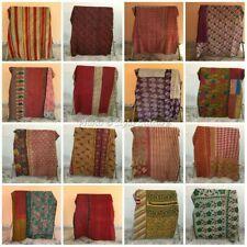 Vintage Reversible Kantha Quilt Indian Blanket Handmade Wholesale Lot 1pc Throw