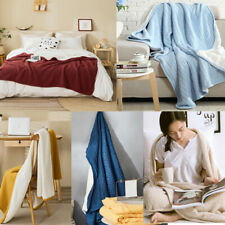 Rectangle Knitted Thicken Warm Throw Blanket Solid Color Soft Office Nap Bedding