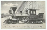 First Train Engine Operated Sacramento Central Pacific RailRoad R.R. Postcard