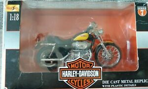 2000 XL 1200S Sporster 1200 Yellow Custom Harley Davidson Maisto 1:18