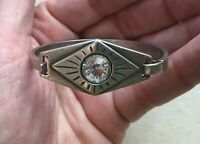 Steampunk Hinged Bangle Bracelet Crystal Southwest Eye Mystic Silver-Tone Boho