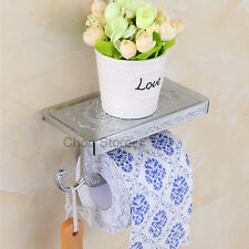 Chrome Bathroom Paper Holder Roll Shelf Toilet Tissue Storage Rack Wall Mounted