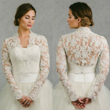 High Neck Wedding Jackets Bolero Top Long Sleeve Bridal Wraps Shawl Shrug Custom