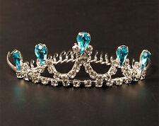 Girls Party Blue Metal Princess Frozen Elsa Crystal Crown Head Hair Tiara comb