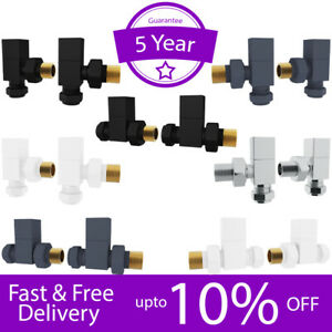 """Manual Radiator Valves Brass Square Angled Straight 1/2"""" x 15mm *Twin Pack*"""