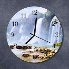 Glass Wall Clock Kitchen Clocks 30 cm round silent Waterfall Multi-Coloured