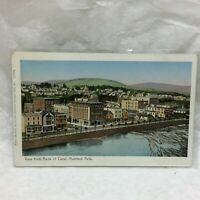 Vintage Postcard Rumford Falls Canal Scene Cote Pharmacy Maine